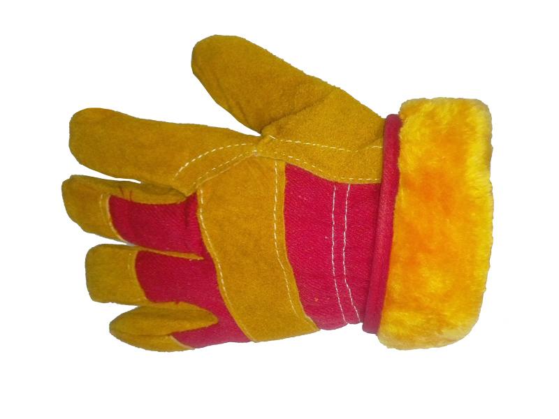 Перчатки спилковые комбинированные «Русские Львы» утепленные