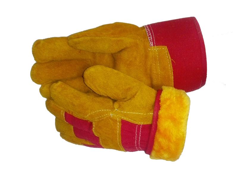 Перчатки спилковые комбинированные желтые зимние