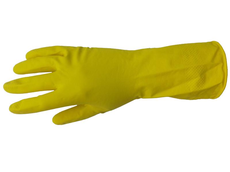 Перчатки хозяйственные латексные с ворсовой подложкой «Лотос»