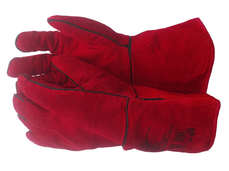 Краги спилковые красные зимние
