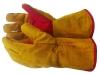 Краги зимние спилковые желтые с усилением