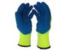 Перчатки акриловые со вспененным латексом «Rubifrost» (Россия), желто-синие